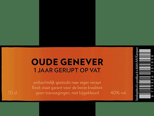 etiket BEEK Oude Genever 1 jaar gerijpt op vat