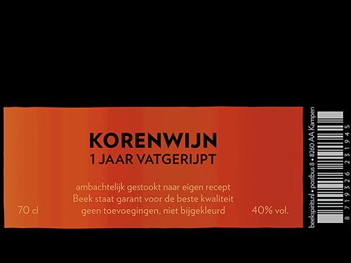 etiket BEEK Korenwijn 1 jaar vatgerijpt