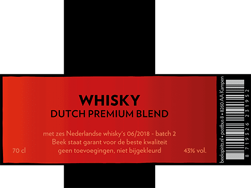 etiket Whisky Dutch Premium Blend batch 2