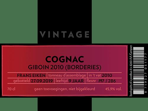 Beek vintage cognac Giboin 2010 etiket