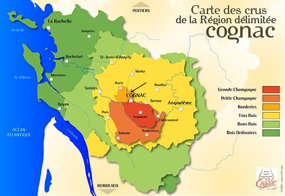 Gebieden met verschillende cru's in de cognacstreek