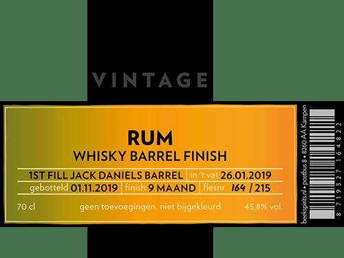 Beek etiket vintage rum 002 barrel finish Jack Daniels