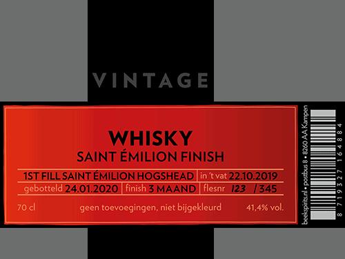 Beek etiket vintage whisky St. Emilion Finish