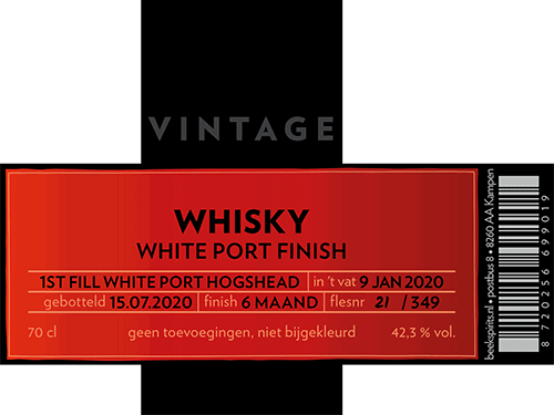 Etiket Beek Whisky Vintage White Port Finish 2020