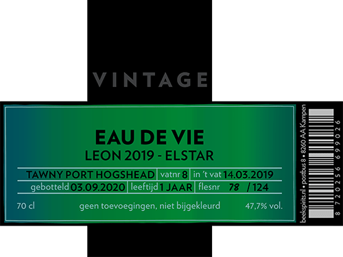 Beek_Eau de Vie_Vintage_Leon 2019 Elstar_etiket
