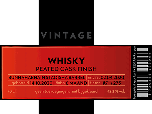 Beek Whisky Vintage Peated Cask Finish 2020 etiket