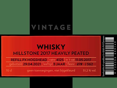 etiket Beek whisky vintage Millstone 2017 heavily peated PX